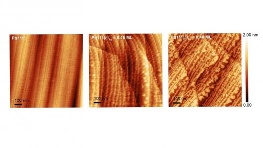 Atomic force microscopy images showing varied coverage of a gold layer (the lighter shade) over the edges of a platinum surface. The gold layer mitigates platinum dissolution during fuel cell operations. (Image by Argonne National Laboratory.)