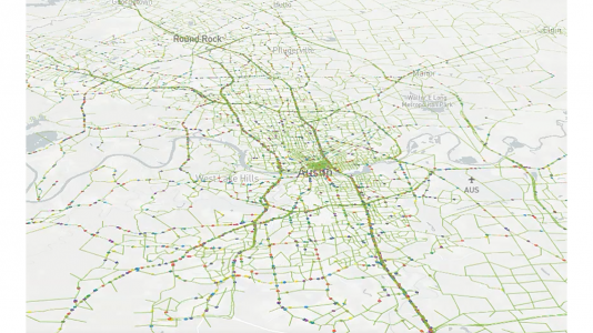Visualizer-created image displaying a sample of 5% of vehicles moving in the Austin model. (Image by Joshua Auld / Argonne National Laboratory.)