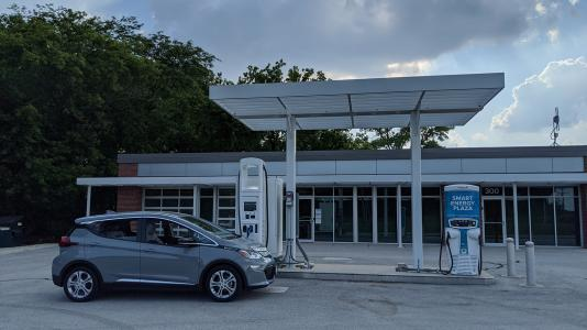 A Chevrolet Bolt undergoes testing at Argonne's Smart Energy Plaza, capturing impacts of direct current fast charging on the electric grid. (Image by Kevin Stutenberg / Argonne National Laboratory.)