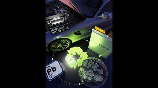 Image shows a lithium-ion battery, a lead-based core-shell particle developed for the anode, the element lead in the periodic table, and a lead-acid battery for an automobile.