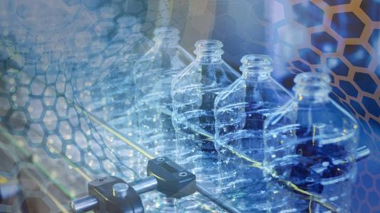 Frontiers in Materials Manufacturing: Transforming Polymers for a Circular Economy banner-row of plastic bottles