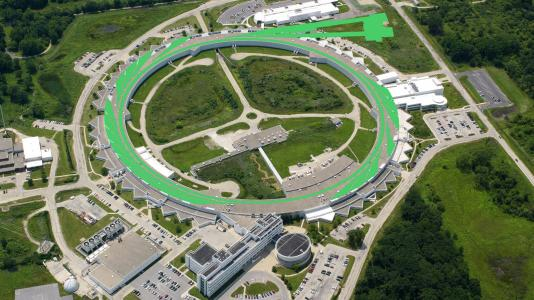 Aerial view of Advanced Photon Source, superimposed image of green swirls over ring, lines leading off to two rectangular shapes. (Aerial photo by Tigerhill Studios. Illustration by Mark Lopez/ Argonne National Laboratory.)