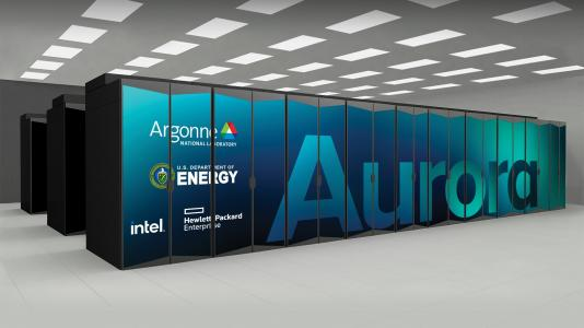 Large rectangles - Argonne's Aurora exascale system. (Image by Argonne National Laboratory.)