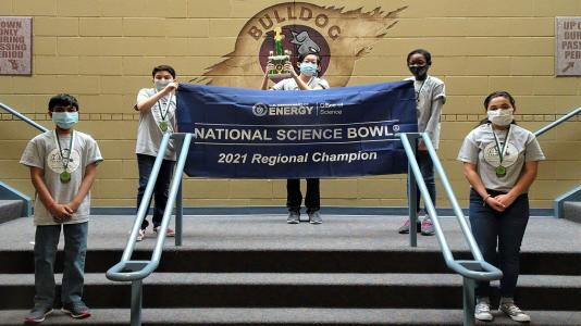 Bednarcik Junior High School's team celebrates winning the 2021 Illinois Regional Middle School Science Bowl. (Image by Bednarcik Junior High School.)