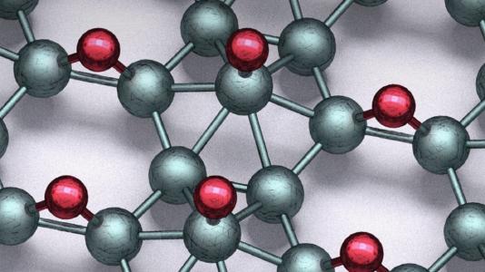 Structure of borophane sheet. Red, hydrogen; teal, boron. (Image by Qiucheng Li and Chaitanya Kolluru.)