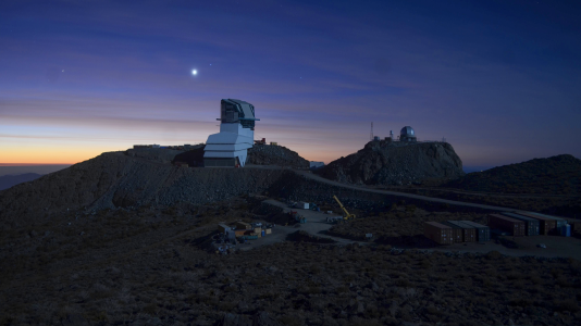 The Simonyi Survey telescope at the Vera C. Rubin Observatory, named for the pioneering astronomer who studied stellar motion in the outer regions of galaxies, finding evidence for the presence of dark matter. (Image by LSST Project.)