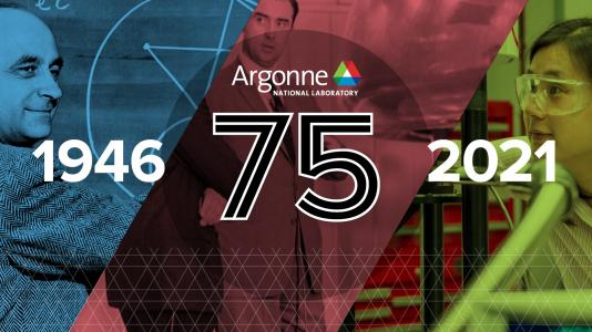 Graphic showing three scenes from Argonne's history, overlayed with blue, red and green, with the years 1946 and 2021 and the number 75 overlayed on top. (Image by Argonne National Laboratory.)
