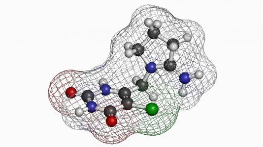 Illustration of a molecule of tipiracil, a drug used to fight cancer that may inhibit the action of one of the main proteins that make up SARS-CoV-2, the virus that causes COVID-19. (Image by Shutterstock/StudioMolekuul.)