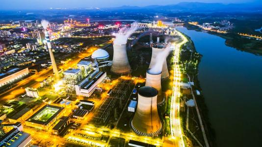 Birds-eye view of nuclear reactors. (Image by Shutterstock/SnvvSnvvSnvv.)