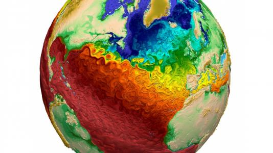 Globe image with red, orange, yellow, green blues. (Image by Los Alamos National Laboratory.)
