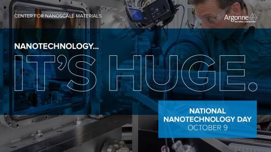 Poster of Nanotechnology It's Huge National Nanotechnology Day October 9 (Image by Argonne National Laboratory.)
