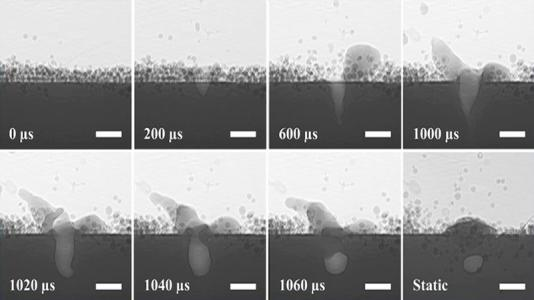 In these high-speed x-ray images, the 3-D printer is using a laser to melt metal powder, which causes a 'keyhole' defect within the cooled material.