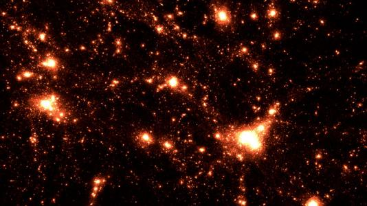 This shows the HACC cosmology simulation, which combines high spatial and temporal resolution in a large cosmological volume.