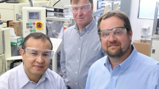 Discoverers of the NMC cathode and manufacturing process, left to right: Khalil Amine, Michael Thackeray, and Christopher Johnson. (Image by Argonne National Laboratory.)
