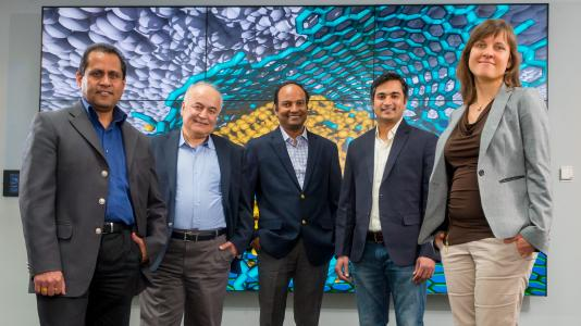 From left, researchers Ani Sumant, Ali Erdemir, Subramanian Sankaranarayanan, Sanket Deshmukh, and Diana Berman combined diamond, graphene, and carbon to achieve superlubricity.