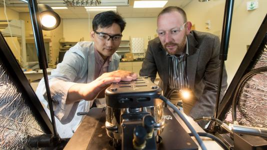 Argonne materials scientists Seungbum Hong (left) and Andreas Roelofs adjust an atomic force microscope.
