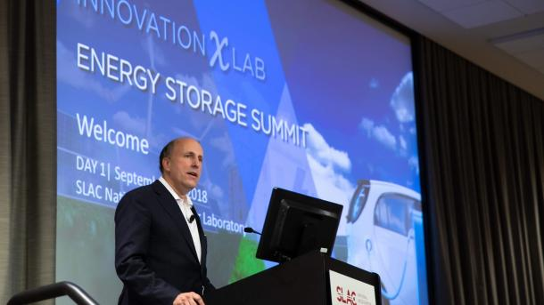 DOE Under Secretary for Science Paul Dabbar announced the renewal of the Joint Center for Energy Storage Research at the InnovationXLab Energy Storage Summit this morning. (Image by SLAC National Accelerator Laboratory.)