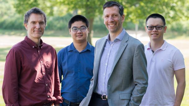 A team of Argonne researchers has developed a novel way to keep oil from clogging filter membranes and other equipment used in the oil and gas industry. From left to right: Jeff Elam, Hao-Cheng Yang, Seth Darling and Yunsong Xie.