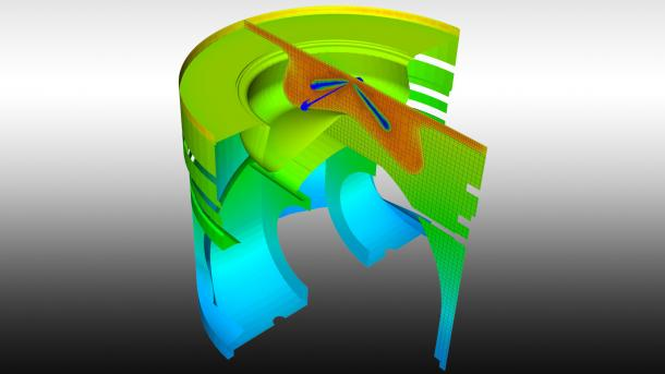 Researchers created this predictive cross-sectional view of an engine geometry showing in-cylinder and metal piston temperatures using a coupled conjugate heat transfer and computational fluid dynamics model.