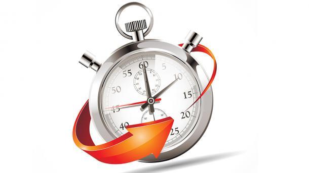 Silver pocket watch encircled by orange arrow.