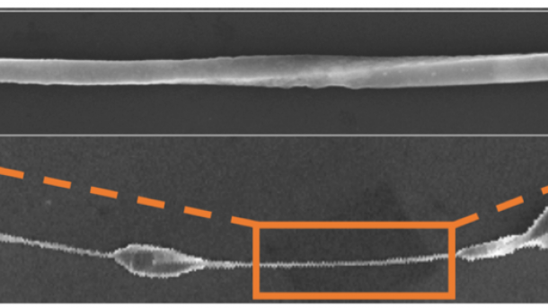 micrograph of nanowire with Eshelby twist