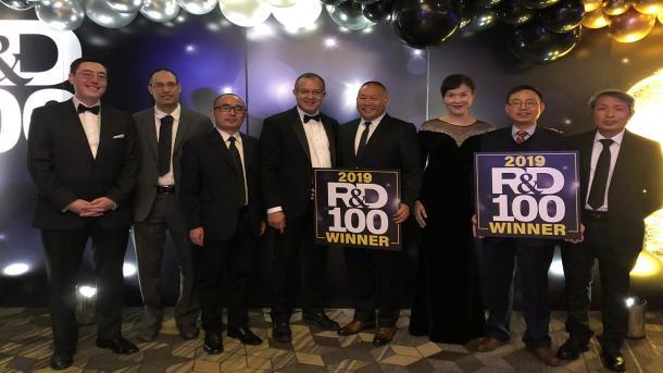 2019 R&D 100 Awards - Left to right: Bryan Yonemoto (Microvast), Ali Abouimrane (former ANL ), Jun Lu (ANL) Khalil Amine (ANL),Yang Wu ( Microvast), Wenjuan Mattis (Microvast), Jinbo He (Microvast) and Zonghai Chen (ANL)