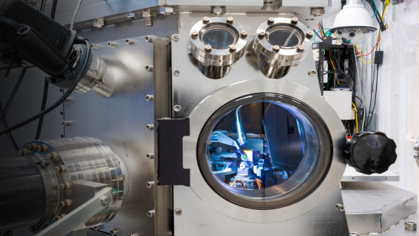 Looking into the hard X-ray nanoprobe synchrotron chamber while measuring a response of an individual cuprous oxide particle to the exposure of carbon dioxide, water and light. (Image by Tijana Rajh / Argonne National Laboratory.)