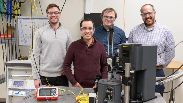 Argonne scientists, (left to right) Sean Sullivan, Gary Wolfowicz, Joseph Heremans and Alan Dibos, worked on the quantum loop project and demonstrated the operation of the testbed by generating, transmitting, and detecting optical pulses through one and then both fiber loops.