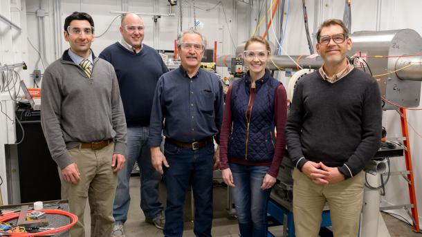 Members of the collaboration that built the new instrument at the APS. From left: Michael Sangid, Purdue University; Aaron Stebner, Colorado School of Mines; Bob Suter, Carnegie Mellon University; Ashley Spear, University of Utah; and Jonathan Almer, X-ray Science Division, Argonne. Photo taken Dec. 2019.