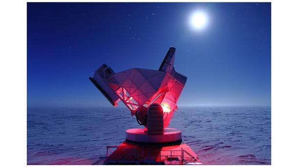 "Argonne built the detectors for the polarization-sensitive camera that is currently installed on the South Pole Telescope. (Argonne built the detectors for the polarization-sensitive camera that is currently installed on the South Pole Telescope. (""Image by Daniel Luong-Van, National Science Foundation.).)"
