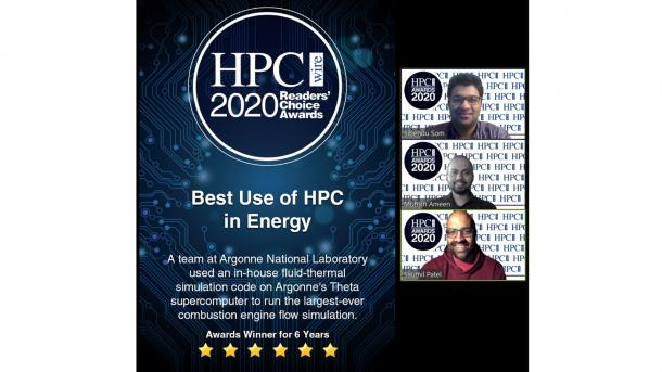 The Argonne team of Sibendu Som, Muhsin Ameen and Saumil Patel won the Readers' Choice Award for Best Use of HPC in Energy. (Image by HPCwire.)