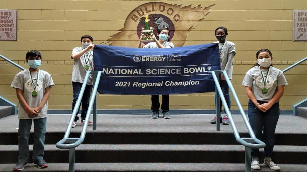 Bednarcik Junior High School's team celebrates winning the 2021 Illinois Regional Middle School Science Bowl. (Image by Bednarcik Junior High School.)