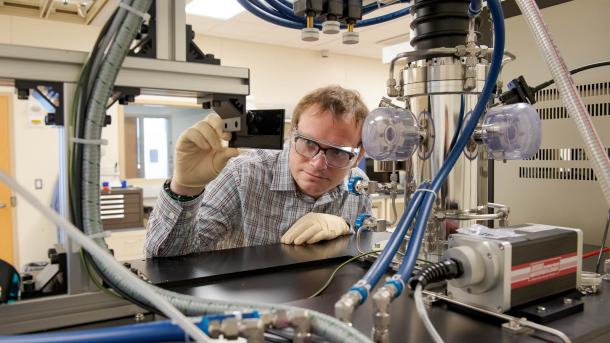 Staff scientist Joseph Heremans working in lab at Argonne used to synthesize ultrapure diamond crystals and engineer electron spins that carry quantum information. (Image by Argonne National Laboratory.)