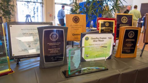 generic award web graphic-table display of award plaques
