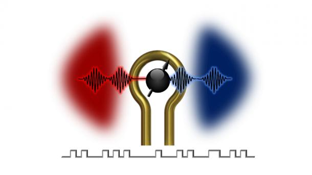 New method for information processing: The coherent information exchange (black undulating lines) between magnons (shaded red area) and microwave photons (shaded blue area) is controlled by turning an electric pulse on and off (square wave at bottom). (Image by Xufeng Zhang, Argonne National Laboratory.)