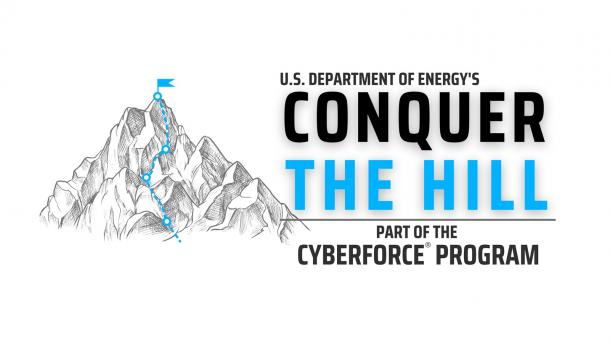 Hill with flags_U.S. Department of Energy's Conquer the Hill logo.