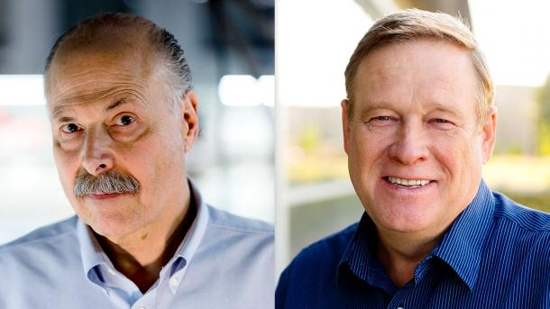 Two headshots. (Images courtesy of David Awschalom and Oleg Poluektov, respectively.)