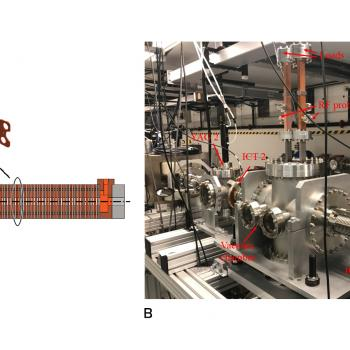 (Left) Electrons transiting the 80 mm long metamaterial structure generate high power microwaves. (Right) Photo of the beam line at the ANL Wakefield Test Accelerator