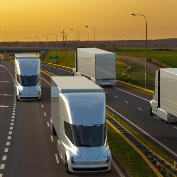 A new nuclear microreactor, designed by Argonne scientists, could recharge electric semitrucks on cross-country trips. The one-of-a-kind system is flexible, safe and practical, say nuclear engineers at the laboratory. (Image by Shutterstock / Mike Mareen.)